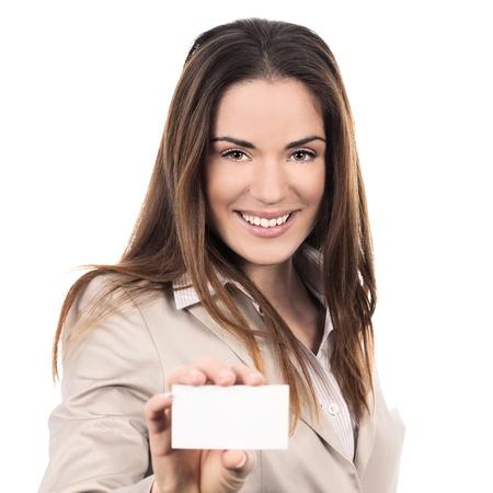 Photo pour business woman holding a blank business card over white background  - image libre de droit