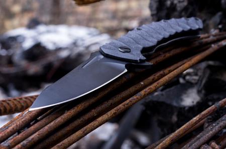 Foto de Blade of a knife. Photo at an angle. Sharper knife. - Imagen libre de derechos