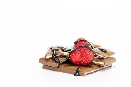 Foto de Fresh strawberries sprinkled with chocolate. Strawberry chocolate. Isolate - Imagen libre de derechos