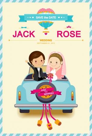 Photo pour Cute Bride and Groom in Wedding Car Wedding Invitation Template - image libre de droit