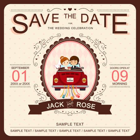 Photo pour Cute Bride and Groom in Red Car Wedding Invitation Template - image libre de droit