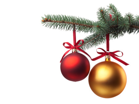 Foto de Christmas baubles with curly ribbon on christmas tree isolated on white - Imagen libre de derechos