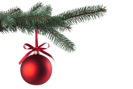 Photo pour Christmas ball with curly ribbon on christmas tree - image libre de droit