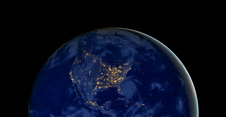 Photo pour United States of America lights during night as it looks like from space. - image libre de droit