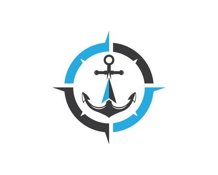 Illustration pour Anchor icon Logo compass design Template vector illustration - image libre de droit