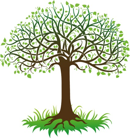 Ilustración de Green tree on a white background - Imagen libre de derechos