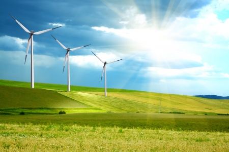 Photo for Wind turbines farm on green island - Royalty Free Image