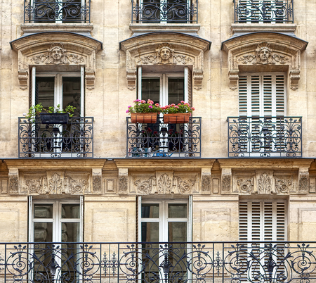 Photo for Typical facade of Parisian building - Royalty Free Image