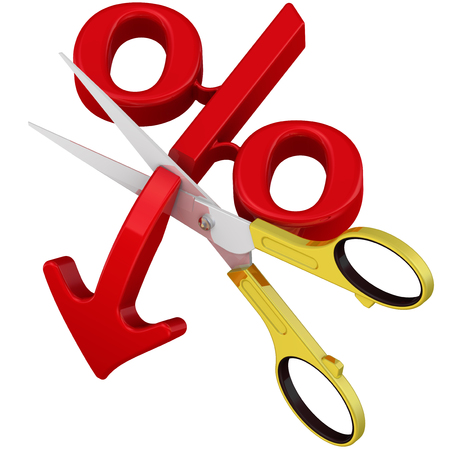 Stop falling percentage. Scissors cut the arrow pointing downward at the red symbol of percentage. The concept of the cessation of falling of the interest rate