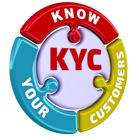Photo pour KYC. Know Your Customers. The mark in the form of a puzzle - image libre de droit