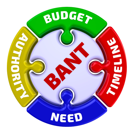 Foto de BANT model in marketing - the inscription Budget, Authority, Need, Timeframe on the puzzle in the shape of a circle. 3D Illustration. Isolated - Imagen libre de derechos