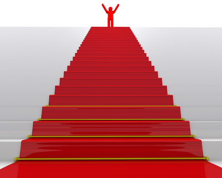 Foto de The goal is achieved. Red symbol of man on top of stairs with a red carpet - Imagen libre de derechos