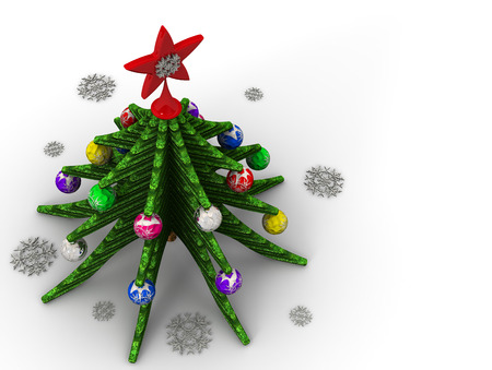 Foto de Christmas tree, Christmas toys and snowflakes on a white surface. View from above. 3D Illustration - Imagen libre de derechos