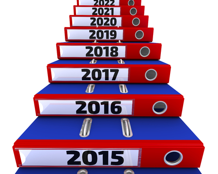 Photo pour Office folders stacked in the form of steps. 2015-2021 years. Isolated. 3D Illustration - image libre de droit