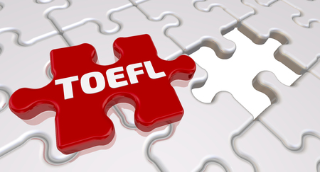 Photo for Folded white puzzles elements and one red with word TOEFL. 3D Illustration - Royalty Free Image