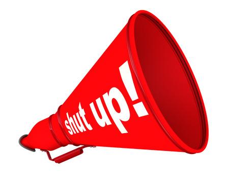 Photo pour Shut up! Red labeled megaphone - image libre de droit