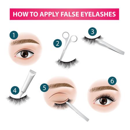 Ilustración de How to apply false  eyelashes vector illustration - Imagen libre de derechos