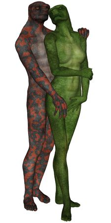 3D rendered lizard man and woman lovers on white background isolated