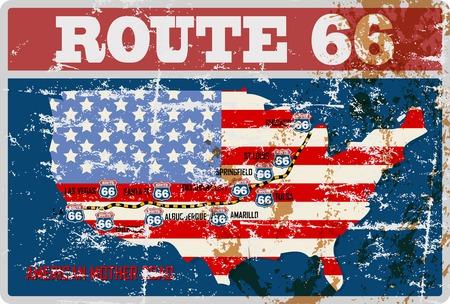 Illustration pour grungy route 66 road map sign,retro grungy vector illustration - image libre de droit