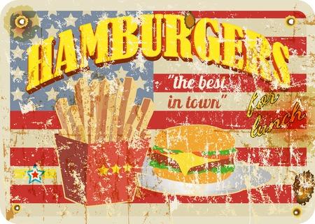Illustration pour retro diner sign, hamburgers sign, grungy style, vector illustration - image libre de droit