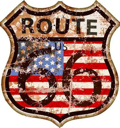 Illustration pour vintage route 66 road sign,retro grungy vector illustration - image libre de droit