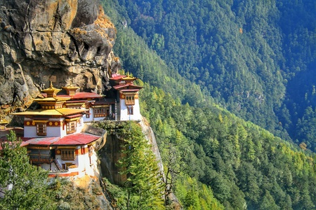 Foto de Taktshang Goemba or Tiger's nest monastery, Paro, Bhutan. - Imagen libre de derechos