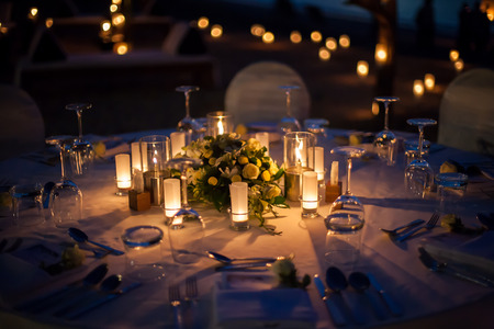 Photo for wedding table setup outdoor - Royalty Free Image