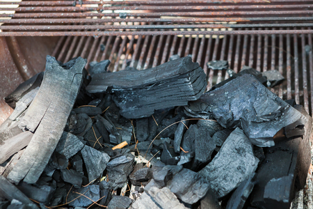Photo for charcoal prepared to burn  in BBQ wedding party - Royalty Free Image