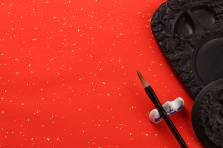 Photo pour chinese brush and ink stone - image libre de droit