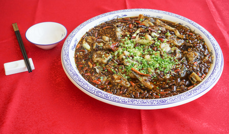 Photo for Sliced Fish in Hot Chili Oil - Royalty Free Image