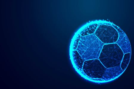Illustration pour ball, football team, Abstract low poly, Triangle, dot, line, polygon. Shine blue background, Vector illustration - image libre de droit