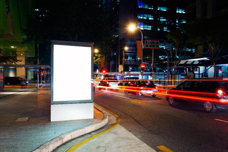 Foto de Advertising light boxes in the city at night  - Imagen libre de derechos