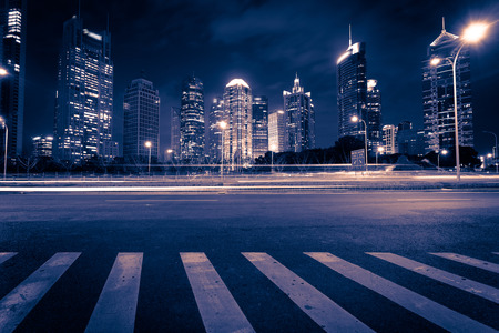 Photo pour Shanghai Pudong City Night - image libre de droit