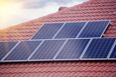 Photo pour Rooftop solar panels - image libre de droit