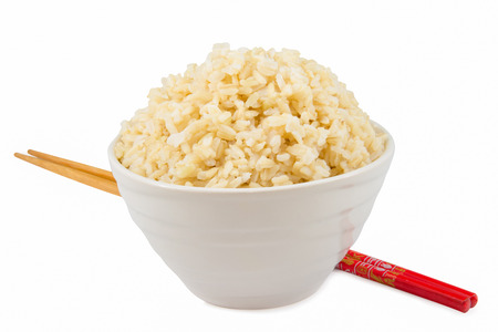 Foto de cooked  brown rice in a bowl - Imagen libre de derechos