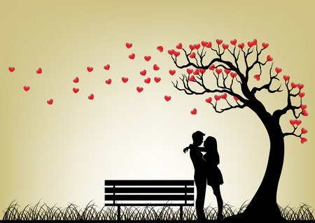 Illustration for Dating Couple Silhouette Under Love Tree - Royalty Free Image