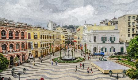 Photo pour Oil painting of senado square scene. - image libre de droit
