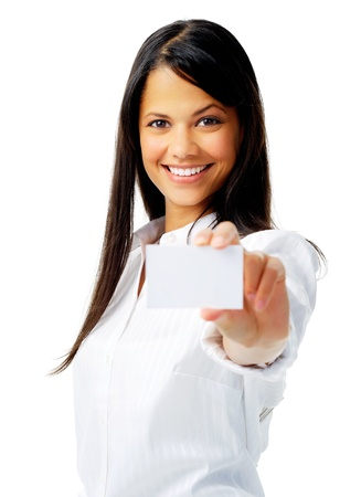 Photo for Businesswoman holding a blank card - Royalty Free Image