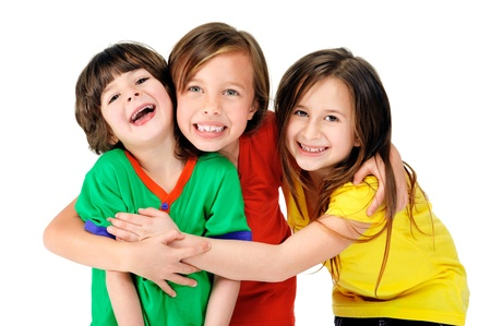 Photo for cute adorable children having fun together with bright colorful t-shirts isolated on white background - Royalty Free Image