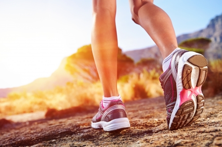 Photo pour athlete running sport feet on trail healthy lifestyle fitness - image libre de droit