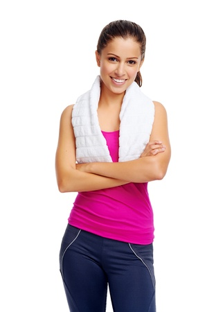 cheerful confident young woman with towel after gym portrait