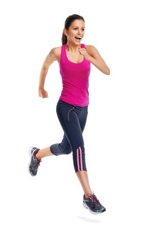 woman running isolated on white background, fitness healthy lifestyle concept