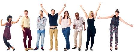 Foto de celebrating diversity real people group isolated on white cheering - Imagen libre de derechos