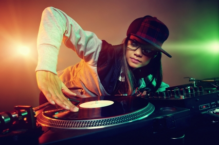 Foto für Hiphop dj woman playing at nightclub party lifestyle - Lizenzfreies Bild