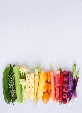Foto für Rainbow spectrum gradient of healthy fresh fruit and vegetables,  colourful food background - Lizenzfreies Bild