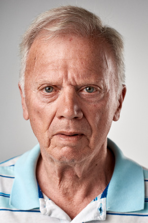 Photo for Portrait of real old white caucasian man with no expression ID or passport photo full collection of diverse face and expressions - Royalty Free Image