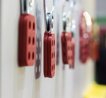 Photo for The Red Lock out hasp ; close up - Royalty Free Image