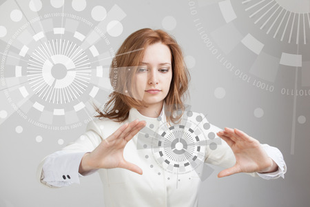 Photo pour Future technology. Touch button interface. Woman working with futuristic interface - image libre de droit