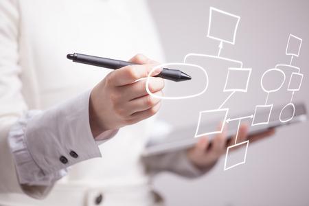 Foto de Businesswoman drawing flowchart, business process concept on grey background. - Imagen libre de derechos