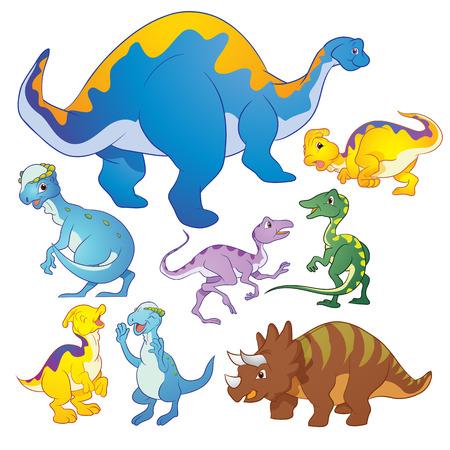 Cute group Dinosaurs vector cartoon many actions
